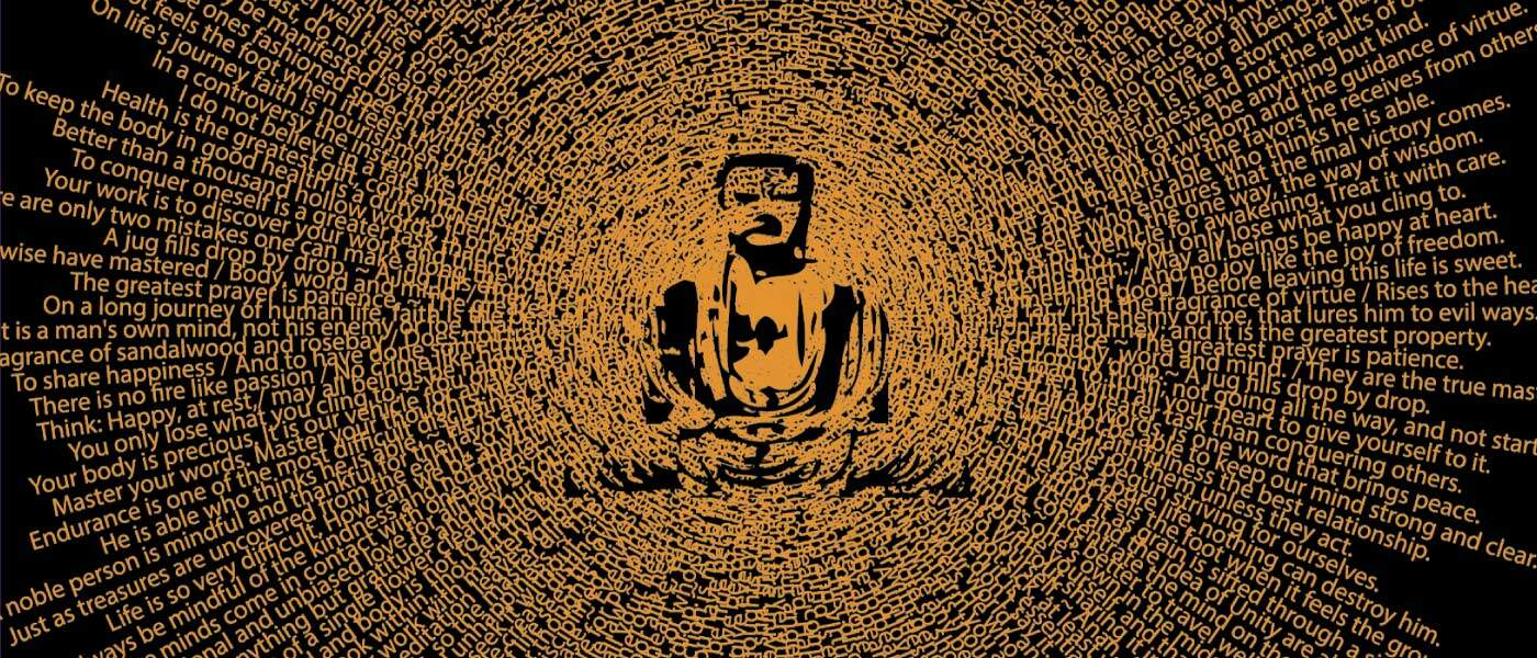 Think Positive Apparel's buddha blast design on black in orange made of quotes from buddha