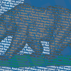 A section of our California design made completely out of quotations from people born in the state of California.