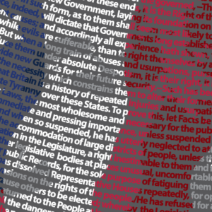 Close up section of our George Washington Independence Day design made of the complete Declaration of Independence!