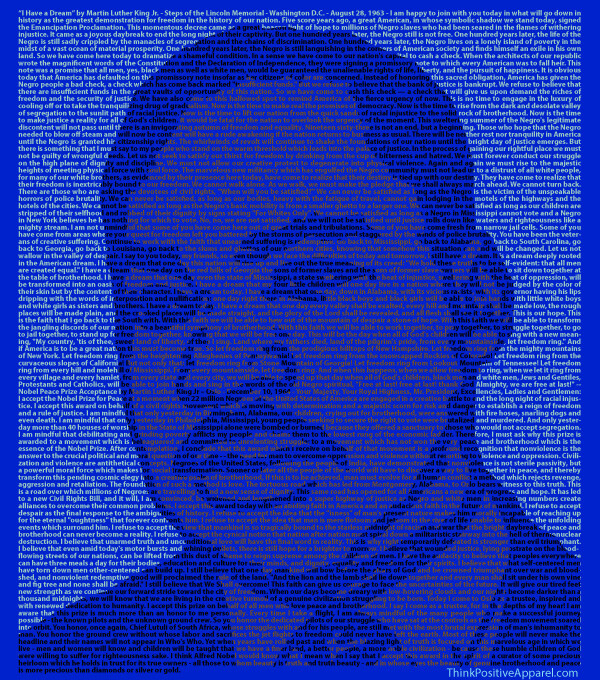 A picture of Dr. Martin Luther King Jr made of text from two famous speeches