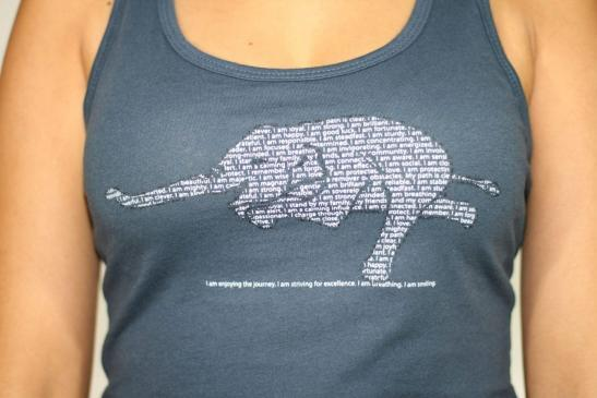 yoga elephant affirmations – racerback tank top – closeup product image