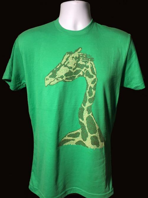 Our Giraffe design screen printed on a men's crew neck t-shirt in green