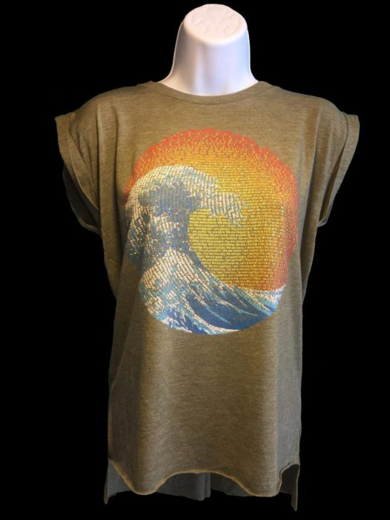 great wave yin yang design made of affirmations on aflowy shirt with rolled up sleeves - alternative featured product image