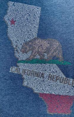 closeup image of Think Possible Apparel's California quotes design screen printed on a navy shirt