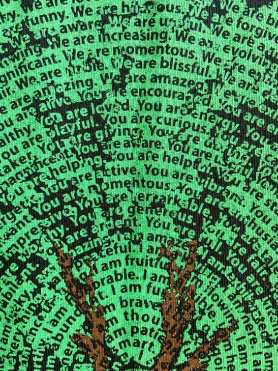 dancing tree of affirmations – organic bamboo cotton tee – super closeup product image