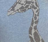 closeup image of Think Possible Apparel's giraffe affirmations design screen printed on a cool blue shirt