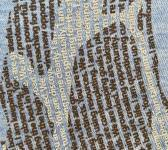 super closeup image of Think Possible Apparel's giraffe affirmations design screen printed on a cool blue shirt