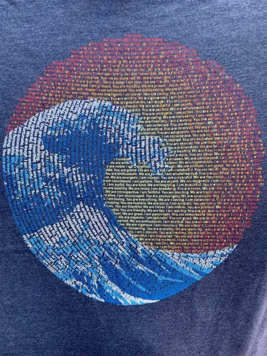 great wave yin yang – women's relaxed fit tee – navy - featured product image - closeup product image