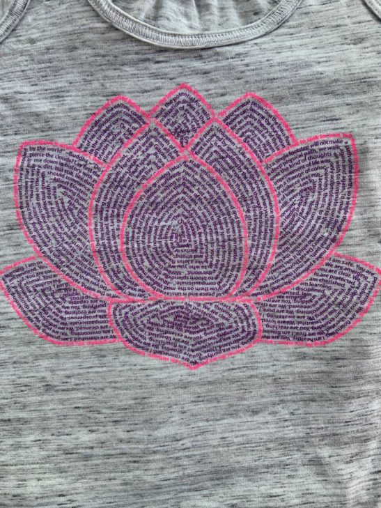 lotus flower quotes on a flowy racerback tank top - closeup product image