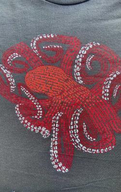 closeup image of Think Possible Apparel's octopus brain affirmations design screen printed on a slate shirt