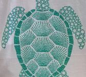 closeup image of Think Possible Apparel's turtle affirmations design screen printed on a white shirt