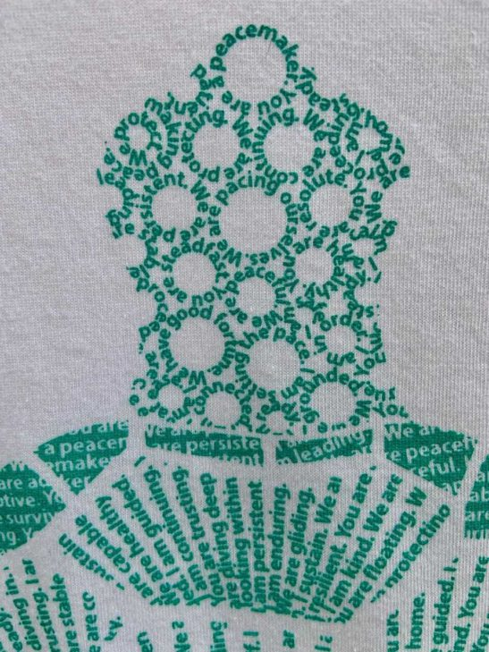 Our turtle design is made entirely from affirmations about the meaning of the turtle & screen printed on a scoop neck flowy shirt. - super closeup product image