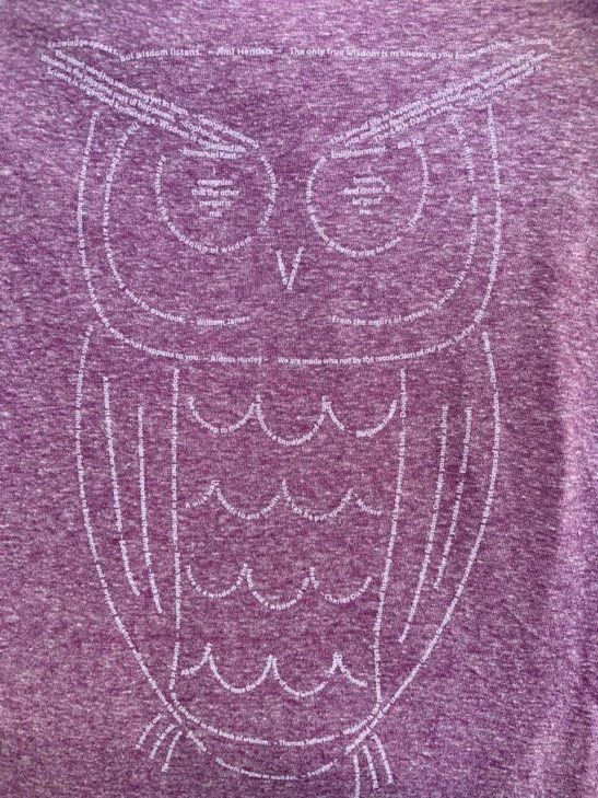 Our wise owl design made completely from quotations and screen printed on this triblend racerback tank top. - closeup product image