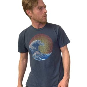 featured product image for our great wave design screen printed on a men's crew neck organic cotton t-shirt in pacific blue