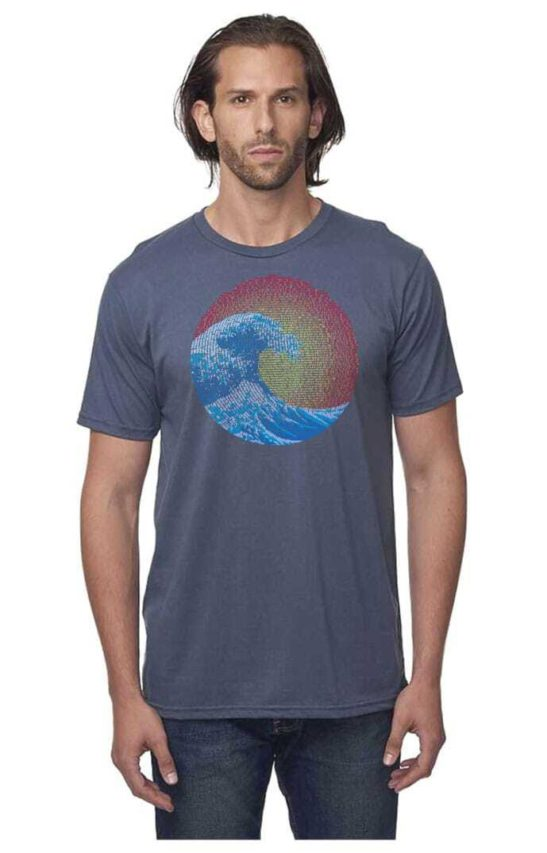 great wave design screen printed on a men's crew neck organic cotton t-shirt in pacific blue - featured image
