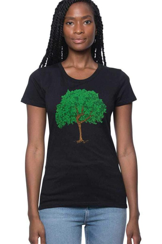 dancing tree made of affirmations – organic bamboo cotton tee – featured product image