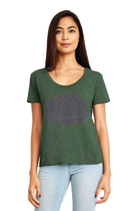 lotus flower quotes and affirmations screen printed on a women's scoop neck flowy shirt - featured product image