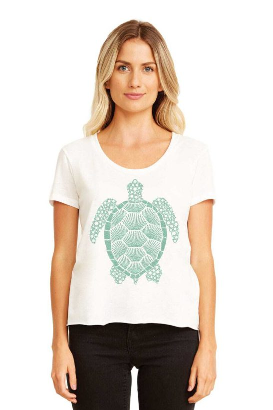 Our turtle design is made entirely from affirmations about the meaning of the turtle & screen printed on a scoop neck flowy shirt. - featured product image