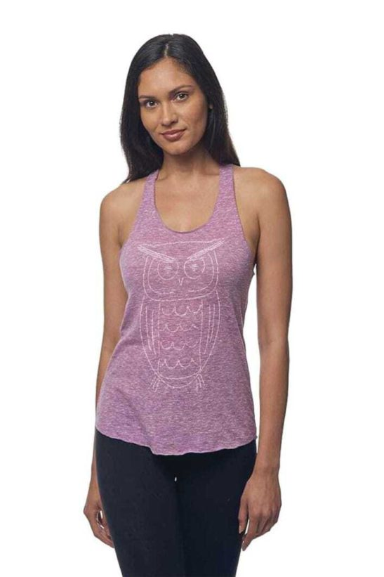 Our wise owl design made completely from quotations and screen printed on this triblend racerback tank top. - featured product image