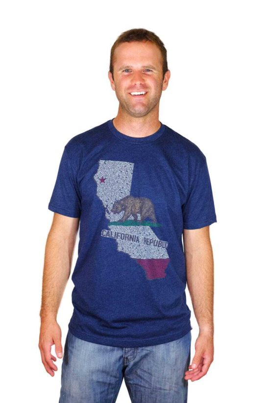 California quotes design screen printed on to a men's crew neck shirt - featured product image