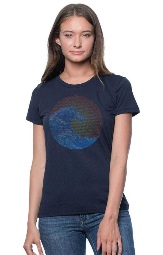 great wave yin yang design made of affirmations – organic bamboo cotton tee – featured product image