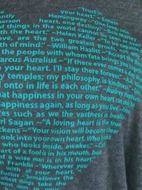 Our Big Heart design is made completely from quotations about heart and screen printed on a super soft flowy shirt with rolled up sleeve - super closeup product image