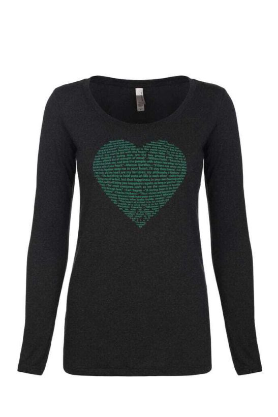 This big heart design is made of positive quotes about heart and screen printed on this soft long sleeve scoop neck tee - featured product image