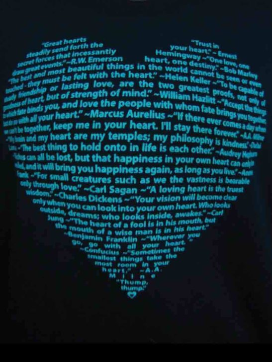 This big heart design is made of positive quotes about heart and screen printed on this soft long sleeve scoop neck tee - closeup product image
