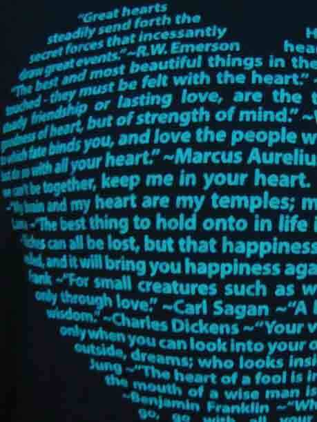 This big heart design is made of positive quotes about heart and screen printed on this soft long sleeve scoop neck tee - super closeup product image