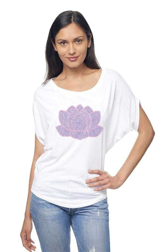 Our lotus flower design is made from positive quotes and is screen printed on an organic bamboo & organic cotton flowy dolman sleeve tee - featured product image