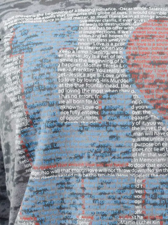 Our LOVE design is made completely from quotes about love and is screen printed on this crazy soft burnout hoody - super closeup product image