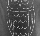 closeup image of Think Possible Apparel's wise owl quotes design screen printed on a dark gray shirt