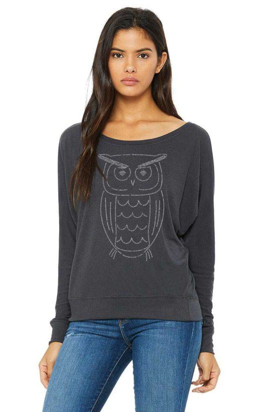 Our Owl design is made completely from quotes about wisdom and screen printed on this fabulous flowy long sleeve off shoulder tee - featured product image