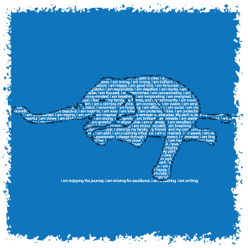 This elephant is doing a warrior 3 yoga pose and is made entirely from affirmations relevant to the symbolism of an elephant by Think Positive Apparel