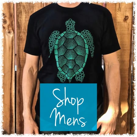 image showing our turtle design made of affirmations on a mens crew with a link to all mens shirts
