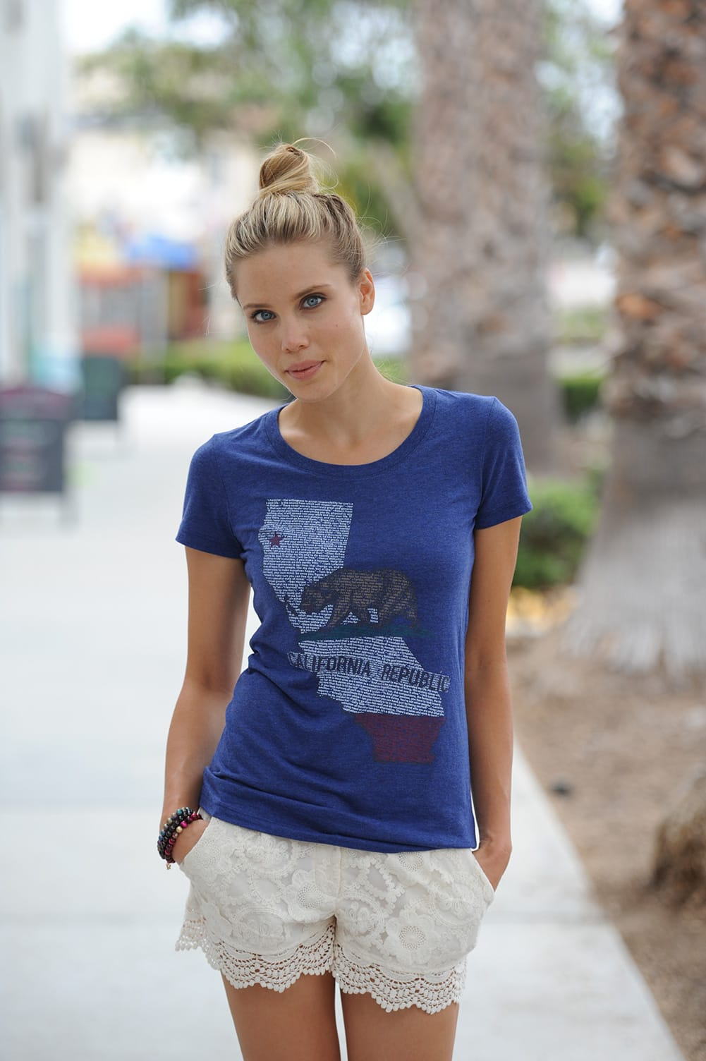 Think Positive Apparel's State of California design made of tiny words
