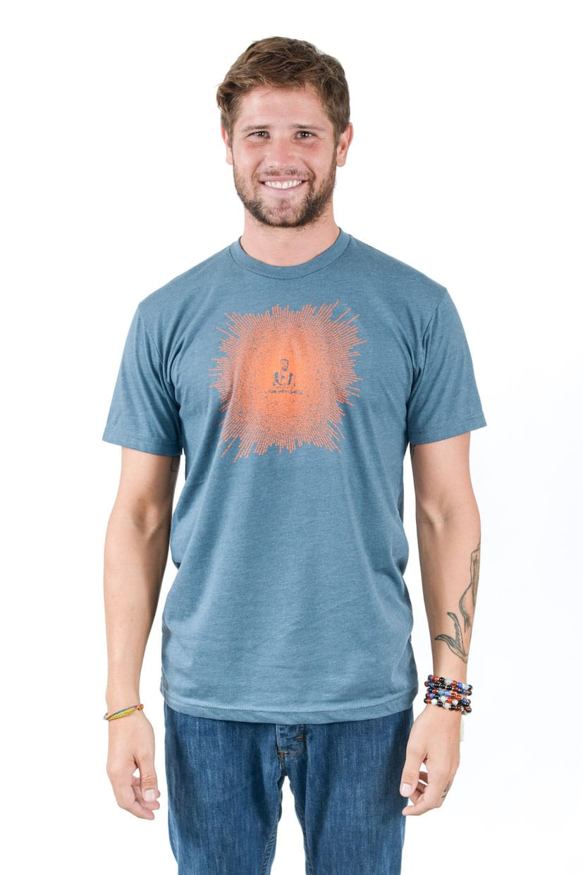 Think Positive Apparel's Buddha Design Made of Buddha Quotes Screen printed on a Men's crew neck t-shirt