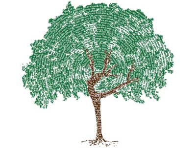 image of our dancing tree design made of affirmations with dancer in tree trunk doing a yoga dancers pose or an arabesque in ballet
